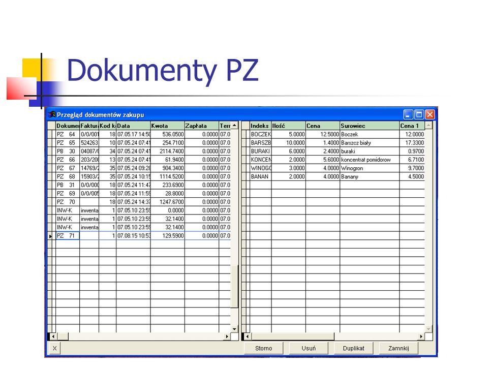 Na dole ekranu program podpowiada opcje: Storno - powstaje dokument korygujący, towar zostaje wycofany z magazynu; Usuń - powoduje usunięcie dokumentu bez powstania dokumentu, towar zostaje wycofany; Duplikat - wydruk duplikatu dokumentu PZ bez zmiany stanu magazynowego; Zamknij - wyjście z przeglądu dokumentów, powrót do głównego menu.
