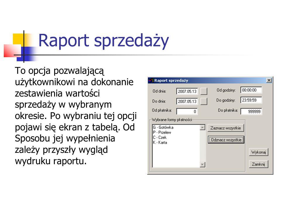 Raport sprzedaży Przykładowy raport sprzedaży.
