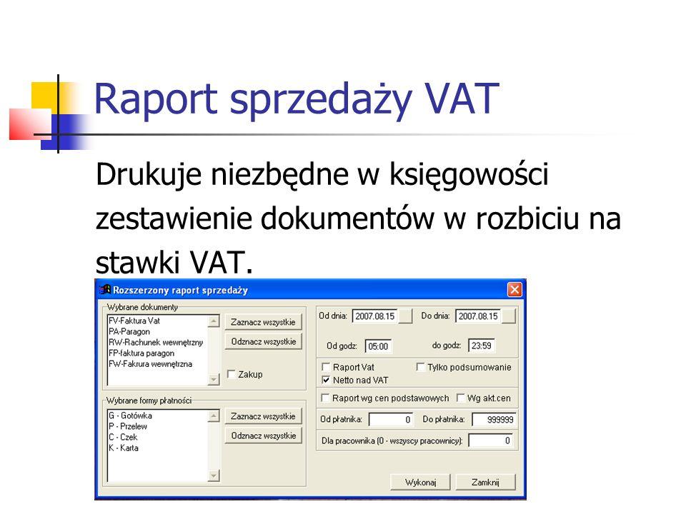 Raport sprzedaży VAT Przykładowy raport sprzedaży VAT
