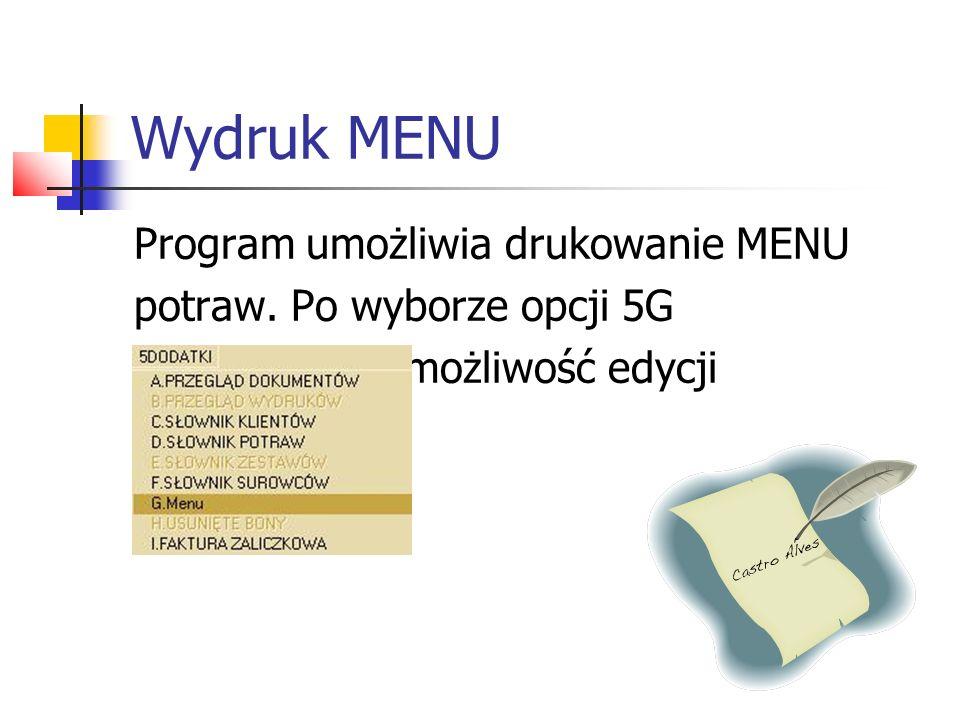 Wydruk MENU Panel opcji wydruku MENU