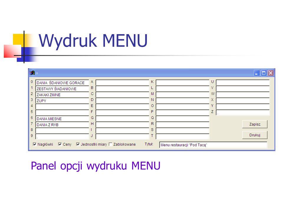 Wydruk MENU Fragment przykładowego MENU