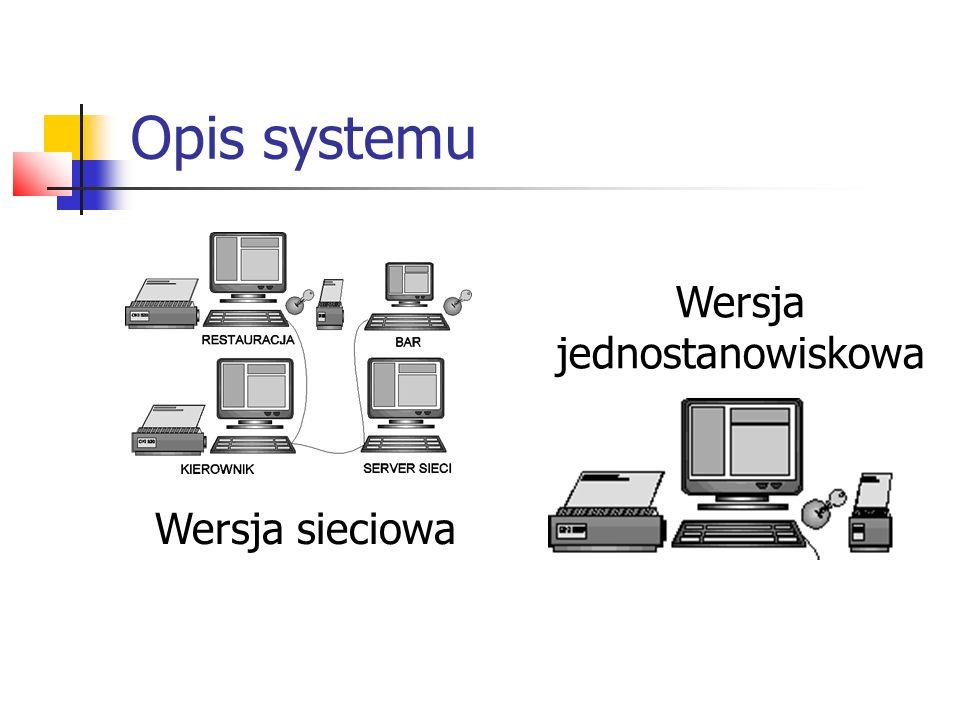 Opis systemu Wersja sieciowa składa się z: z jednego lub kilku stanowisk w kuchni; jednego lub kilku stanowisk w barze; jednego lub kilku stanowisk kierownika restauracji; serwera sieci.