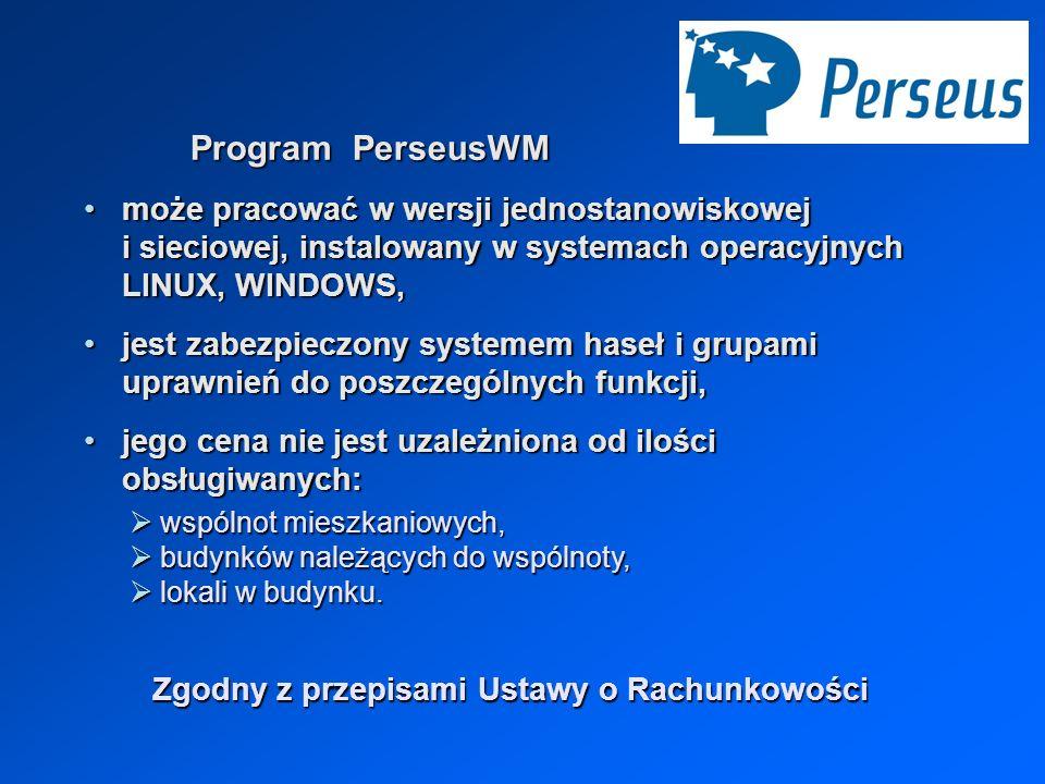 Program PerseusWM może pracować w wersji jednostanowiskowej i sieciowej, instalowany w systemach operacyjnych LINUX, WINDOWS,może pracować w wersji je