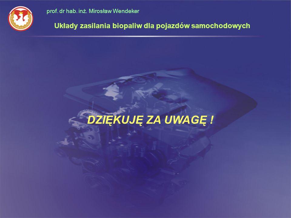 DZIĘKUJĘ ZA UWAGĘ ! prof. dr hab. inż. Mirosław Wendeker Układy zasilania biopaliw dla pojazdów samochodowych