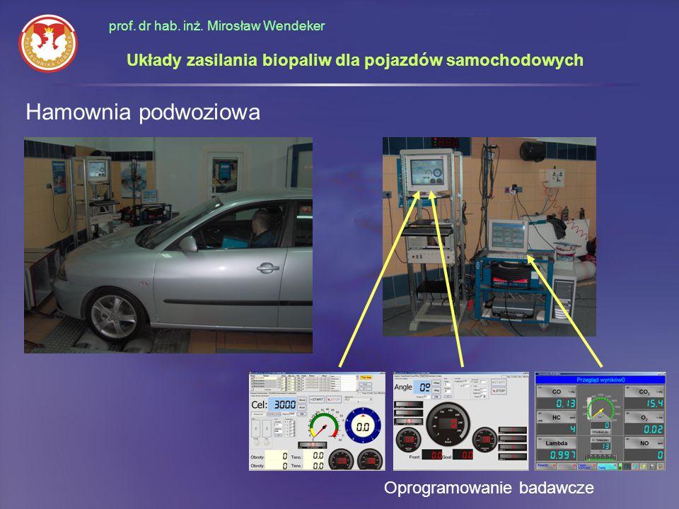 prof. dr hab. inż. Mirosław Wendeker Hamownia podwoziowa Oprogramowanie badawcze Układy zasilania biopaliw dla pojazdów samochodowych