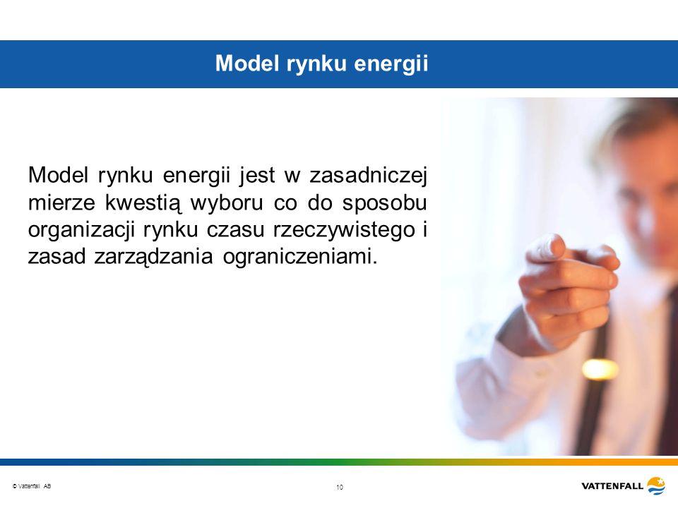 © Vattenfall AB 10 Model rynku energii Model rynku energii jest w zasadniczej mierze kwestią wyboru co do sposobu organizacji rynku czasu rzeczywisteg