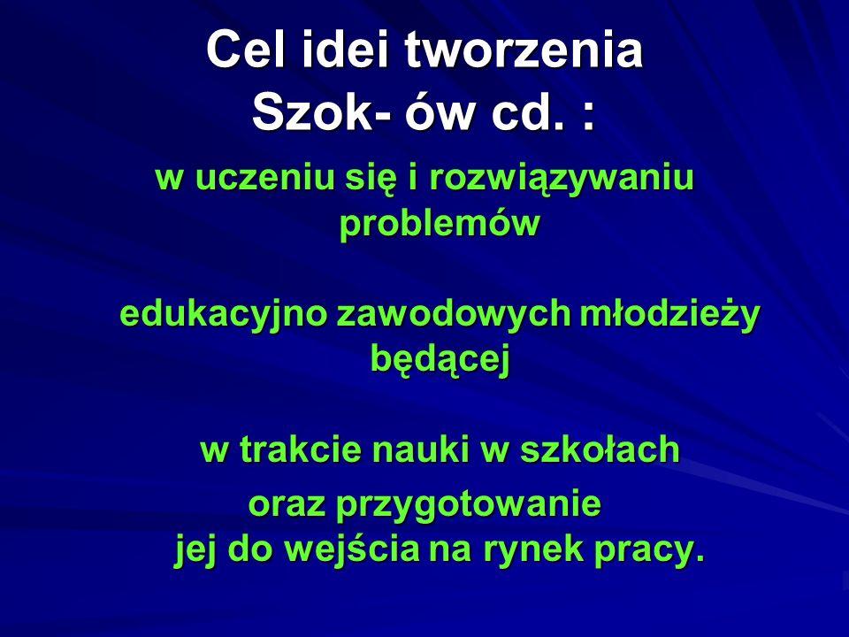 Cel idei tworzenia Szok- ów cd. : w uczeniu się i rozwiązywaniu problemów edukacyjno zawodowych młodzieży będącej w trakcie nauki w szkołach oraz przy