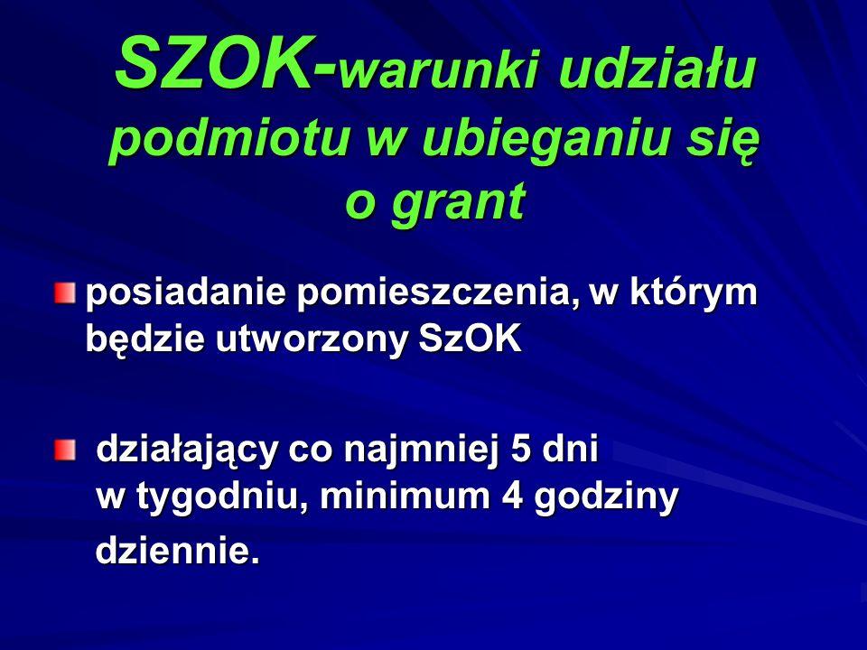 SZOK- warunki udziału podmiotu w ubieganiu się o grant posiadanie pomieszczenia, w którym będzie utworzony SzOK działający co najmniej 5 dni w tygodni