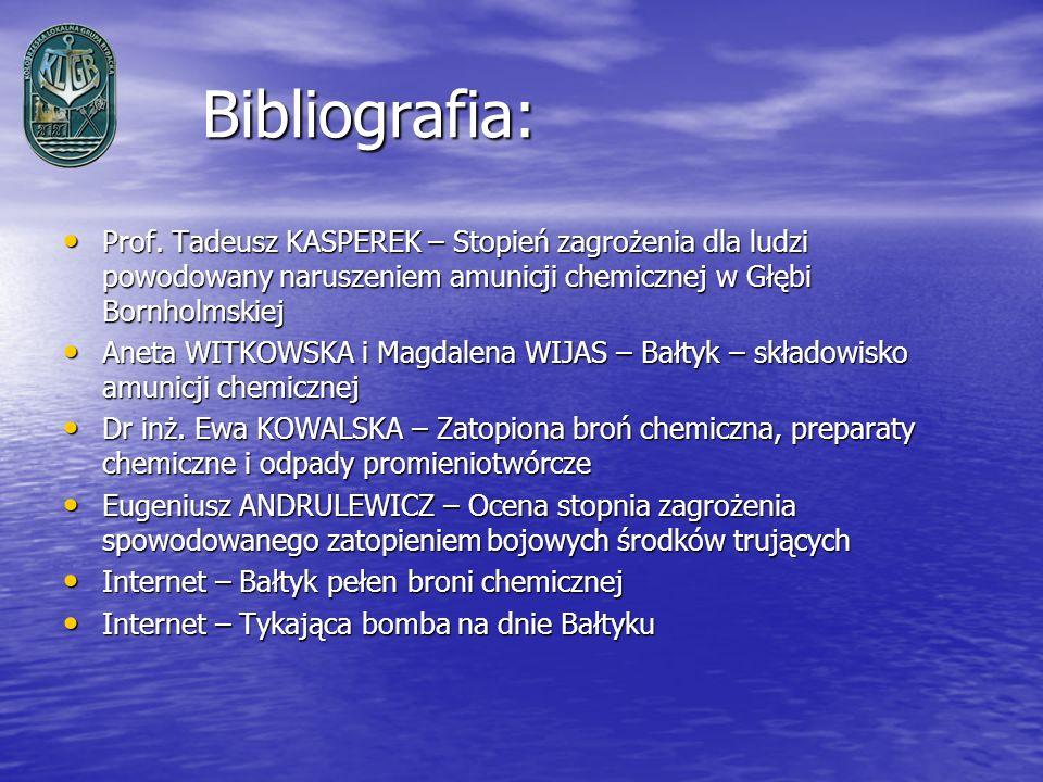 Bibliografia: Bibliografia: Prof. Tadeusz KASPEREK – Stopień zagrożenia dla ludzi powodowany naruszeniem amunicji chemicznej w Głębi Bornholmskiej Pro