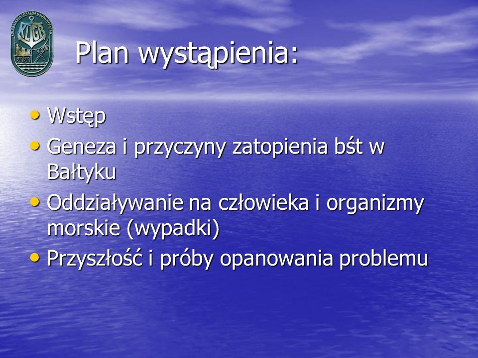 Plan wystąpienia: Plan wystąpienia: Wstęp Wstęp Geneza i przyczyny zatopienia bśt w Bałtyku Geneza i przyczyny zatopienia bśt w Bałtyku Oddziaływanie