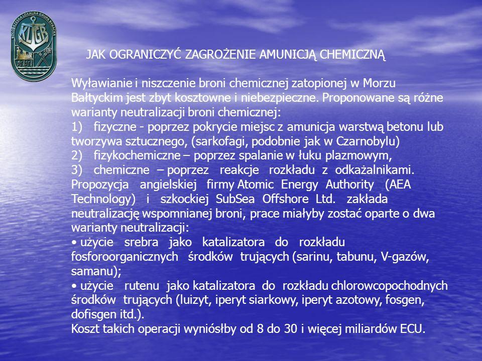 JAK OGRANICZYĆ ZAGROŻENIE AMUNICJĄ CHEMICZNĄ Wyławianie i niszczenie broni chemicznej zatopionej w Morzu Bałtyckim jest zbyt kosztowne i niebezpieczne