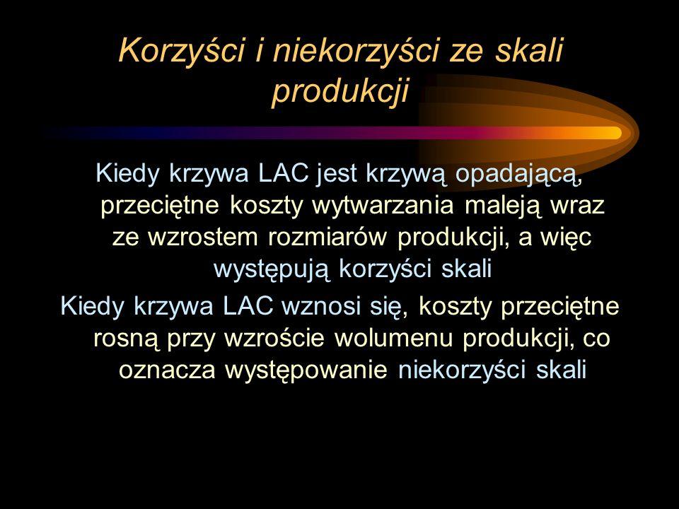 Korzyści i niekorzyści ze skali produkcji Kiedy krzywa LAC jest krzywą opadającą, przeciętne koszty wytwarzania maleją wraz ze wzrostem rozmiarów prod