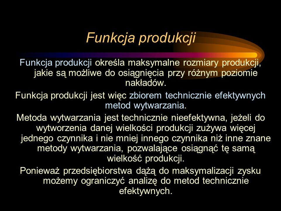 Funkcja produkcji Funkcja produkcji określa maksymalne rozmiary produkcji, jakie są możliwe do osiągnięcia przy różnym poziomie nakładów. Funkcja prod