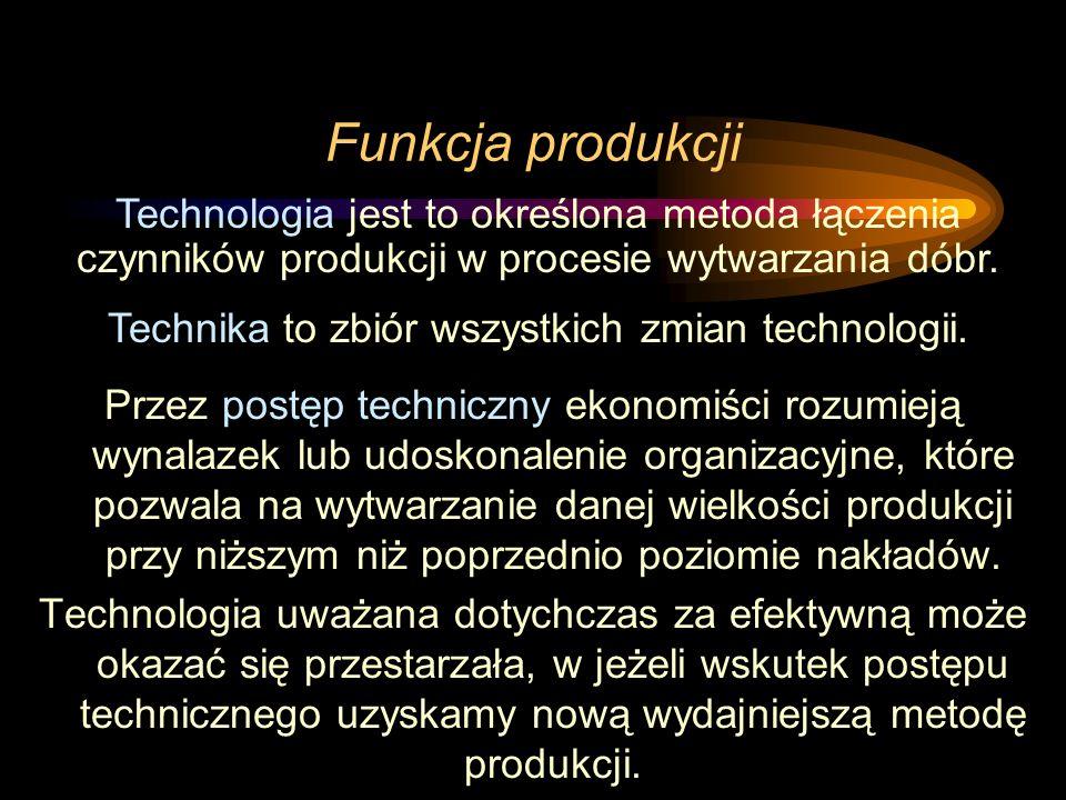 Funkcja produkcji Przez postęp techniczny ekonomiści rozumieją wynalazek lub udoskonalenie organizacyjne, które pozwala na wytwarzanie danej wielkości