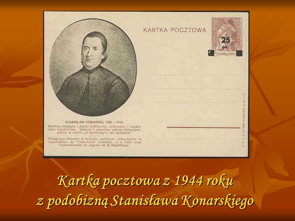 Kartka pocztowa z 1944 roku z podobizną Stanisława Konarskiego