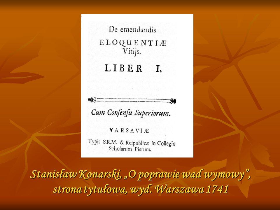 Stanisław Konarski, O poprawie wad wymowy, strona tytułowa, wyd. Warszawa 1741