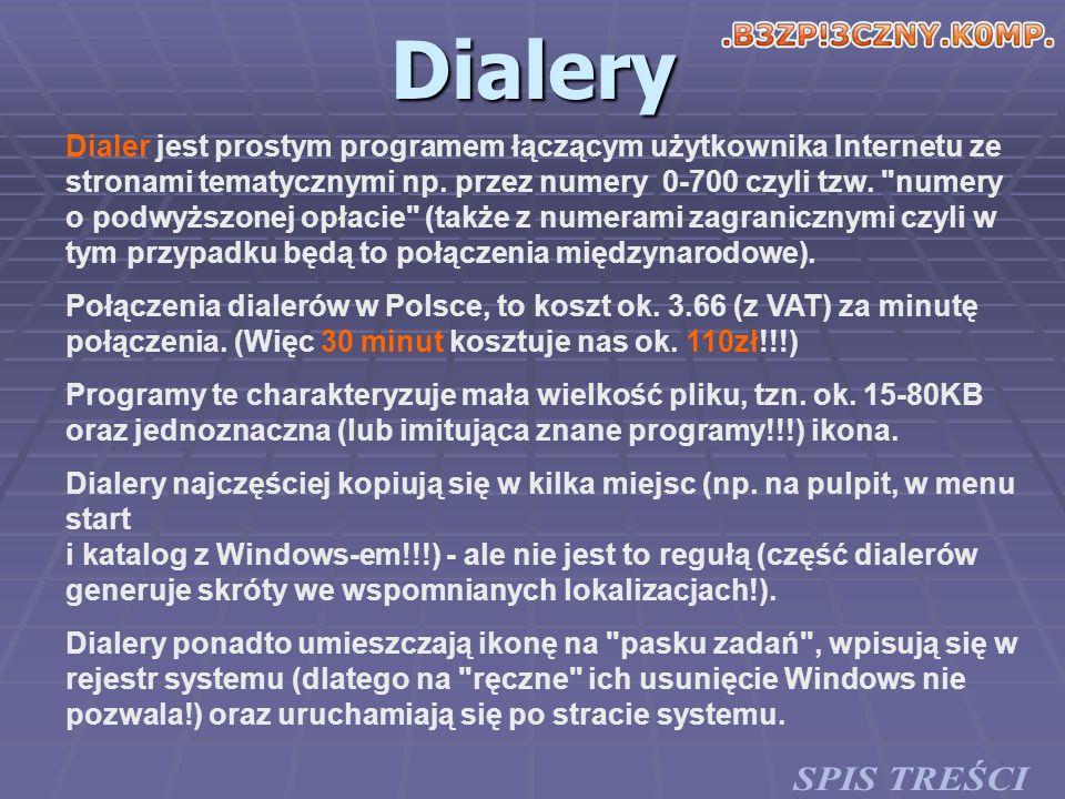 Dialery Dialer jest prostym programem łączącym użytkownika Internetu ze stronami tematycznymi np. przez numery 0-700 czyli tzw.