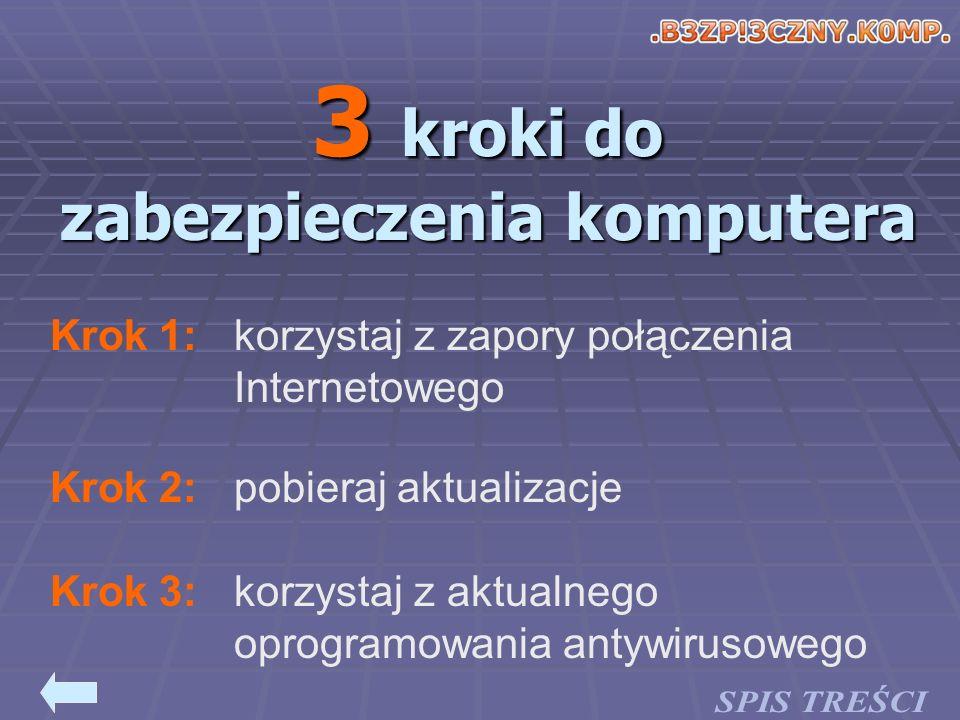 korzystaj z zapory połączenia Internetowego Krok 1: pobieraj aktualizacjeKrok 2: korzystaj z aktualnego oprogramowania antywirusowego Krok 3: 3 kroki