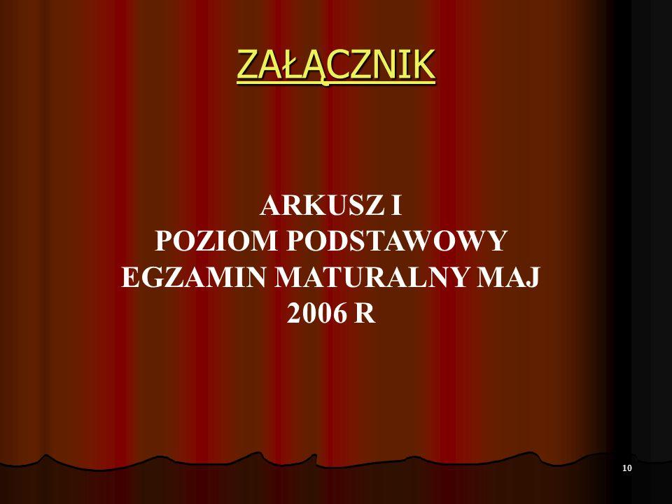 10 ZAŁĄCZNIK ARKUSZ I POZIOM PODSTAWOWY EGZAMIN MATURALNY MAJ 2006 R