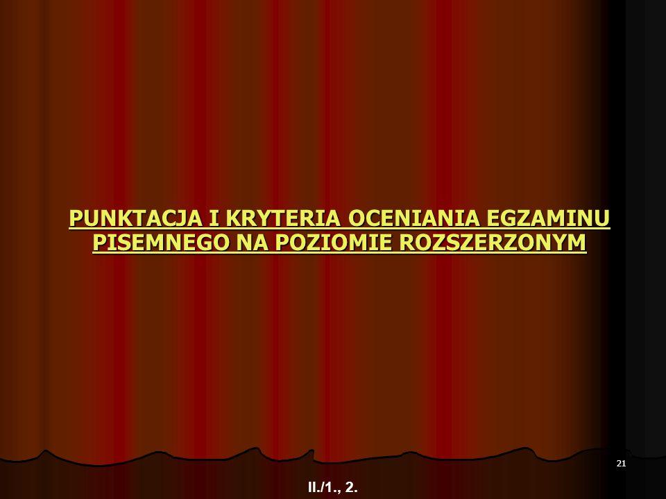 21 PUNKTACJA I KRYTERIA OCENIANIA EGZAMINU PISEMNEGO NA POZIOMIE ROZSZERZONYM PUNKTACJA I KRYTERIA OCENIANIA EGZAMINU PISEMNEGO NA POZIOMIE ROZSZERZON