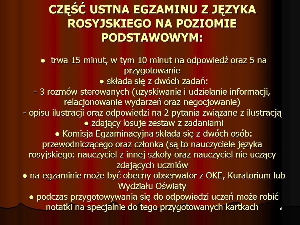 6 CZĘŚĆ USTNA EGZAMINU Z JĘZYKA ROSYJSKIEGO NA POZIOMIE PODSTAWOWYM: trwa 15 minut, w tym 10 minut na odpowiedź oraz 5 na przygotowanie składa się z d