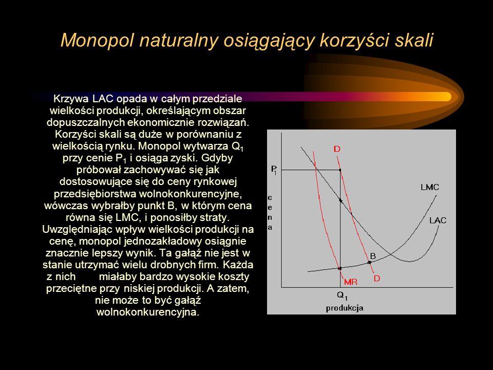 Monopol naturalny osiągający korzyści skali Krzywa LAC opada w całym przedziale wielkości produkcji, określającym obszar dopuszczalnych ekonomicznie r