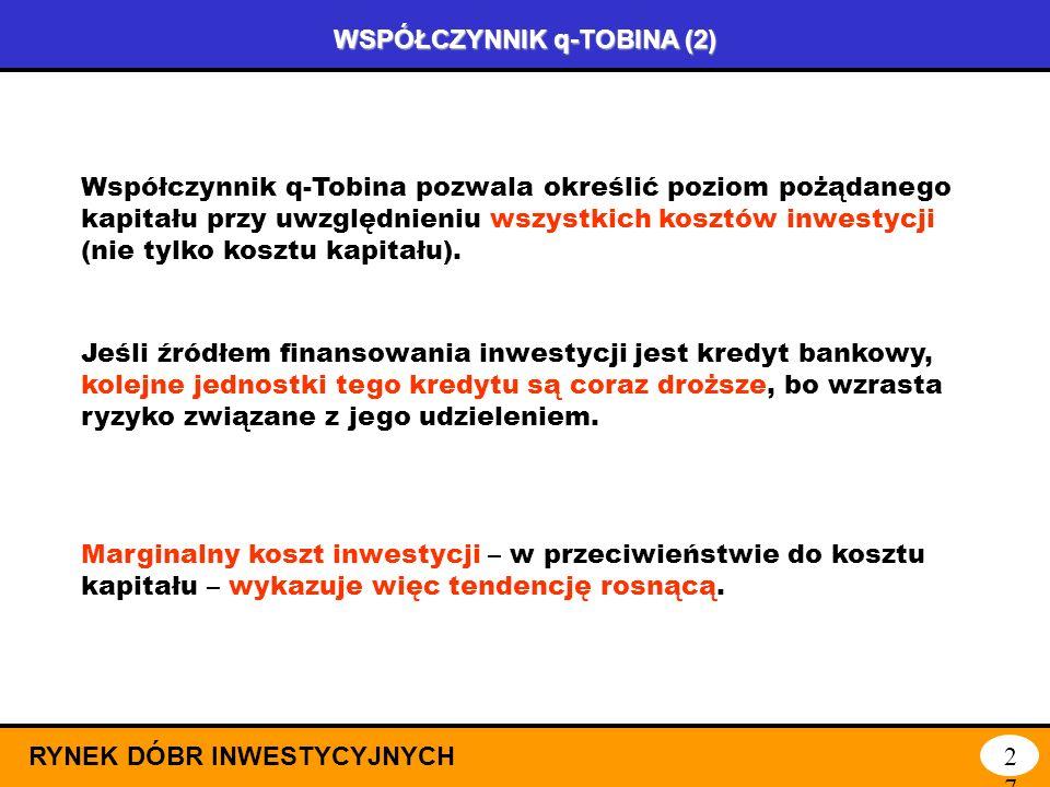 WSPÓŁCZYNNIK q-TOBINA (1) RYNEK DÓBR INWESTYCYJNYCH26 Decydując się na inwestycje, należy uwzględniać koszt kapitału, wyrażony najpełniej przez stopę