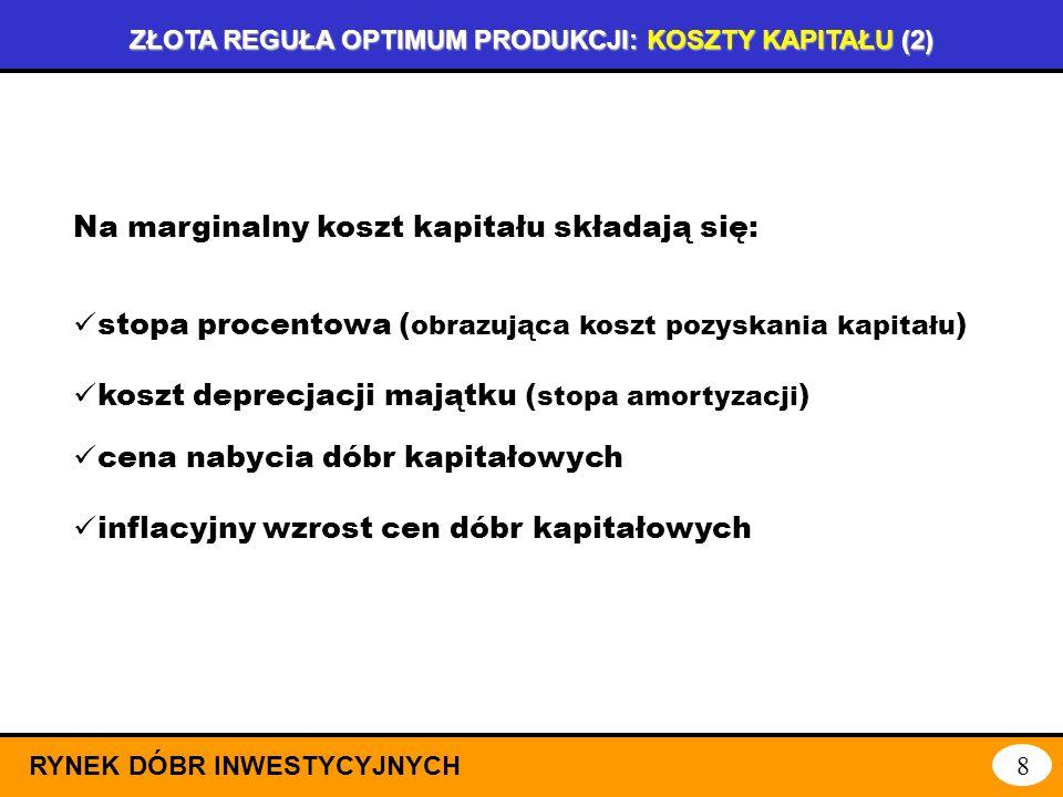 ZŁOTA REGUŁA OPTIMUM PRODUKCJI: KOSZTY KAPITAŁU (1) RYNEK DÓBR INWESTYCYJNYCH 7 kapitał koszt kapitału KK(K)=K+rK Funkcja całkowitego kosztu kapitału