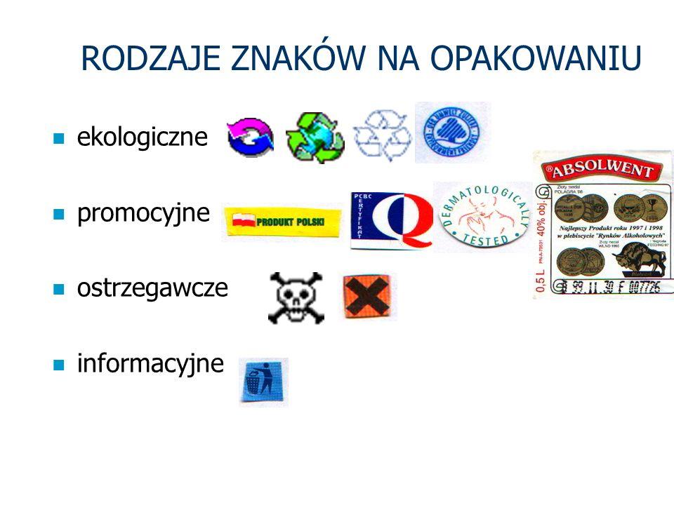 RODZAJE ZNAKÓW NA OPAKOWANIU n ekologiczne n promocyjne n ostrzegawcze n informacyjne