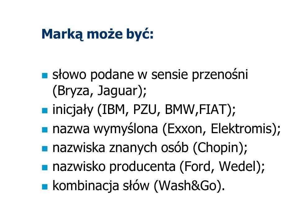 Marką może być: n słowo podane w sensie przenośni (Bryza, Jaguar); n inicjały (IBM, PZU, BMW,FIAT); n nazwa wymyślona (Exxon, Elektromis); n nazwiska