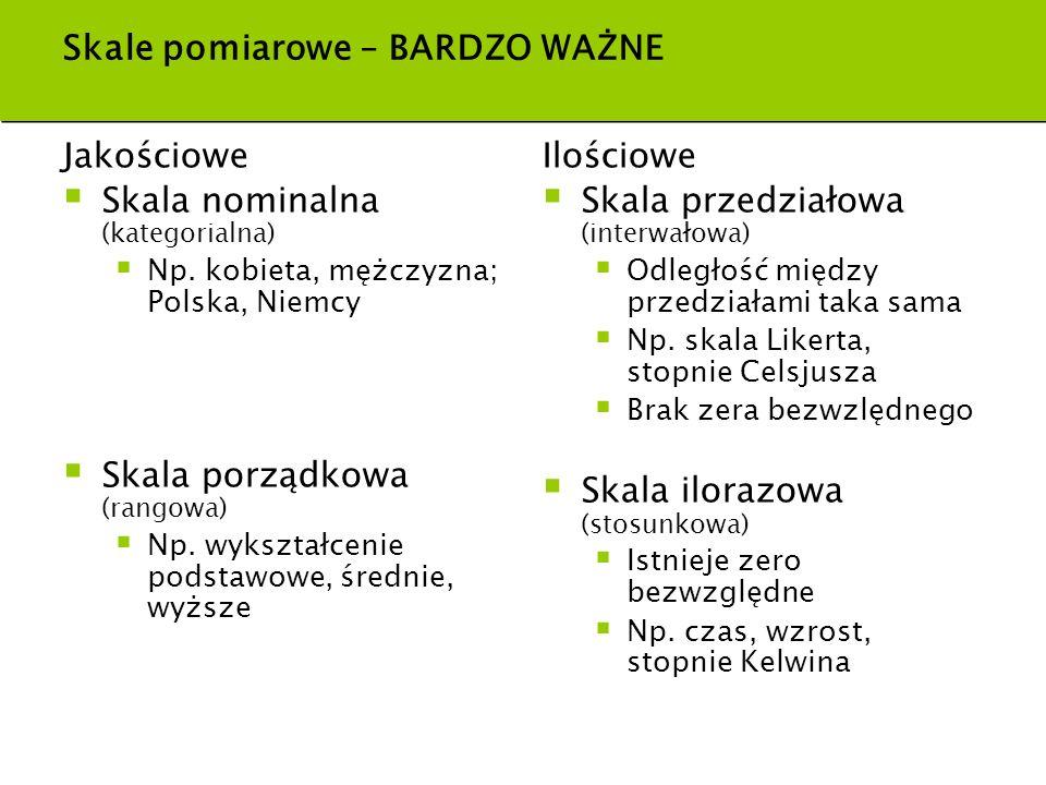 Skale pomiarowe – BARDZO WAŻNE Jakościowe Skala nominalna (kategorialna) Np. kobieta, mężczyzna; Polska, Niemcy Skala porządkowa (rangowa) Np. wykszta