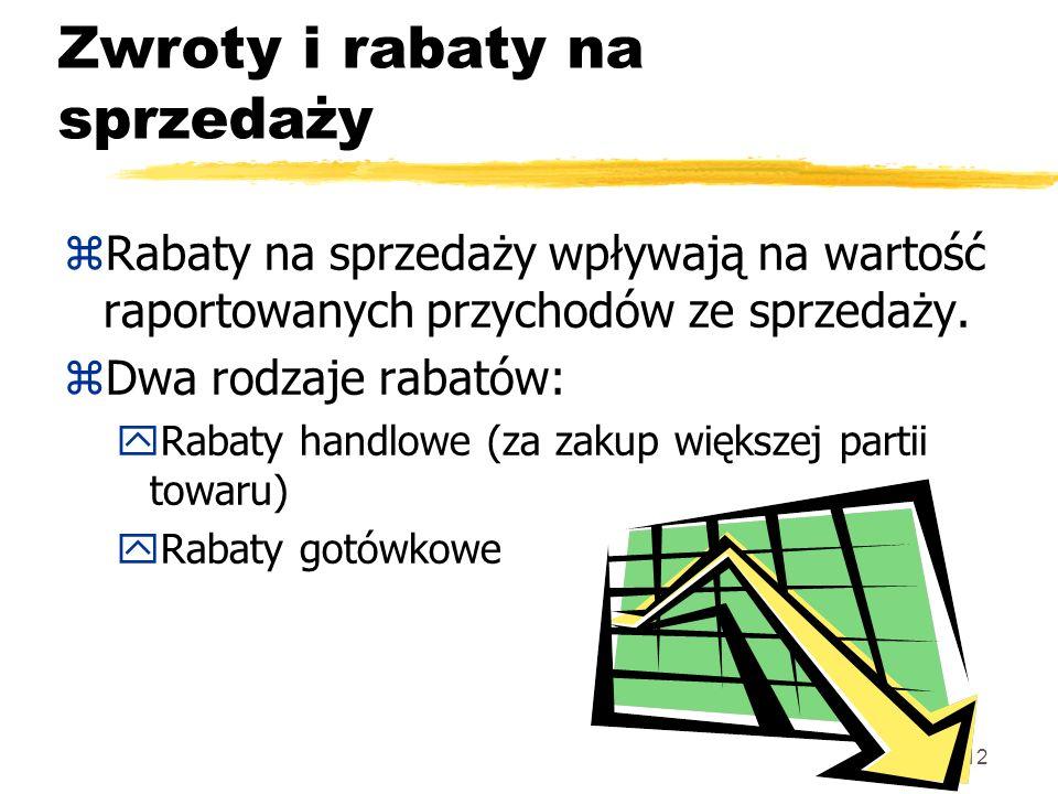 12 Zwroty i rabaty na sprzedaży zRabaty na sprzedaży wpływają na wartość raportowanych przychodów ze sprzedaży. zDwa rodzaje rabatów: yRabaty handlowe