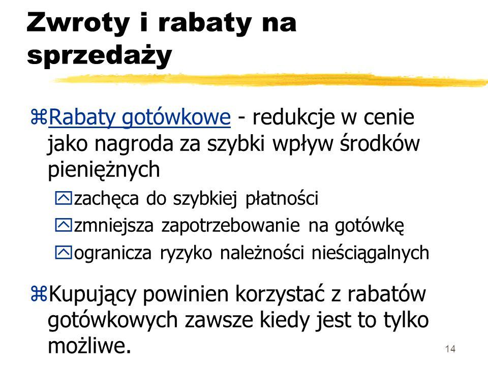 14 Zwroty i rabaty na sprzedaży zRabaty gotówkowe - redukcje w cenie jako nagroda za szybki wpływ środków pieniężnych yzachęca do szybkiej płatności y