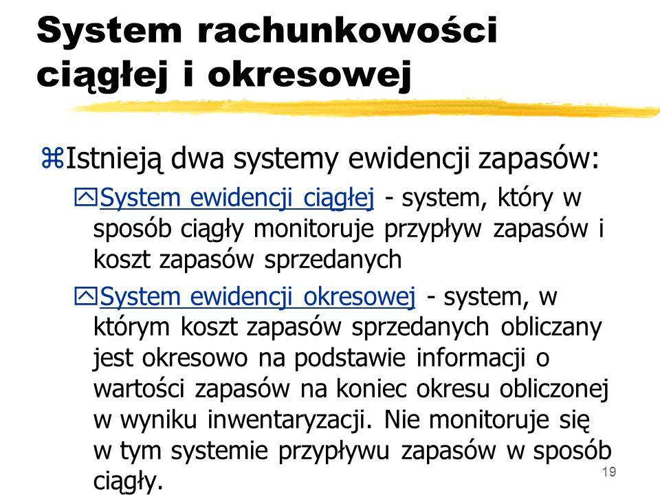 19 System rachunkowości ciągłej i okresowej zIstnieją dwa systemy ewidencji zapasów: ySystem ewidencji ciągłej - system, który w sposób ciągły monitor