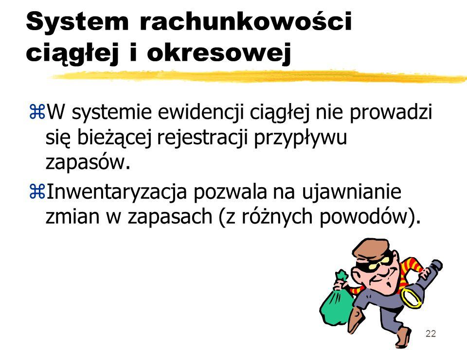 22 System rachunkowości ciągłej i okresowej zW systemie ewidencji ciągłej nie prowadzi się bieżącej rejestracji przypływu zapasów. zInwentaryzacja poz