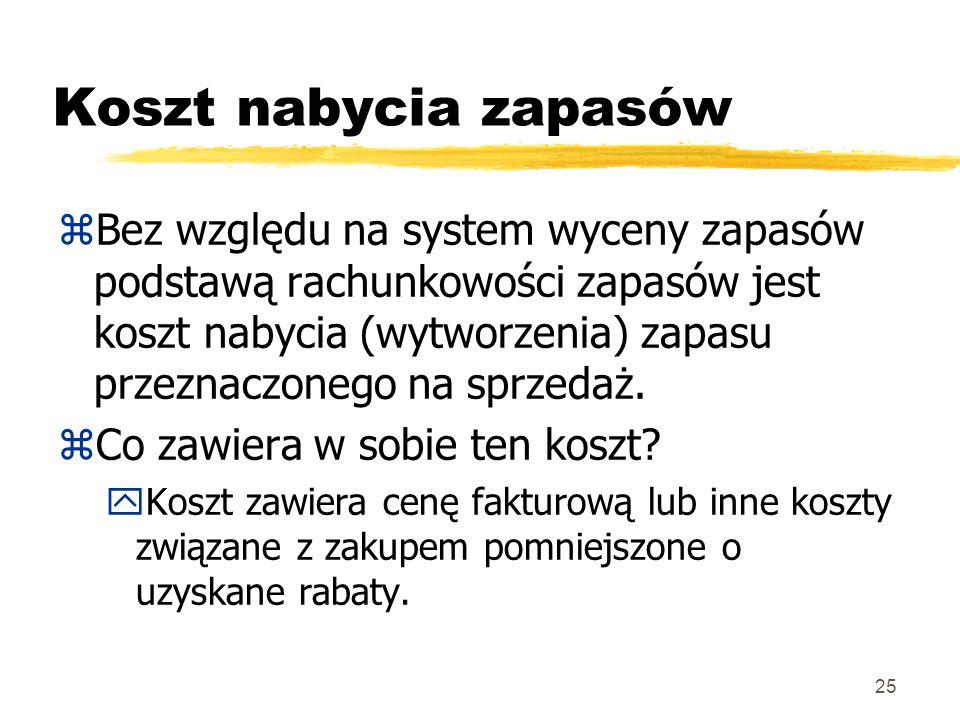 25 Koszt nabycia zapasów zBez względu na system wyceny zapasów podstawą rachunkowości zapasów jest koszt nabycia (wytworzenia) zapasu przeznaczonego n