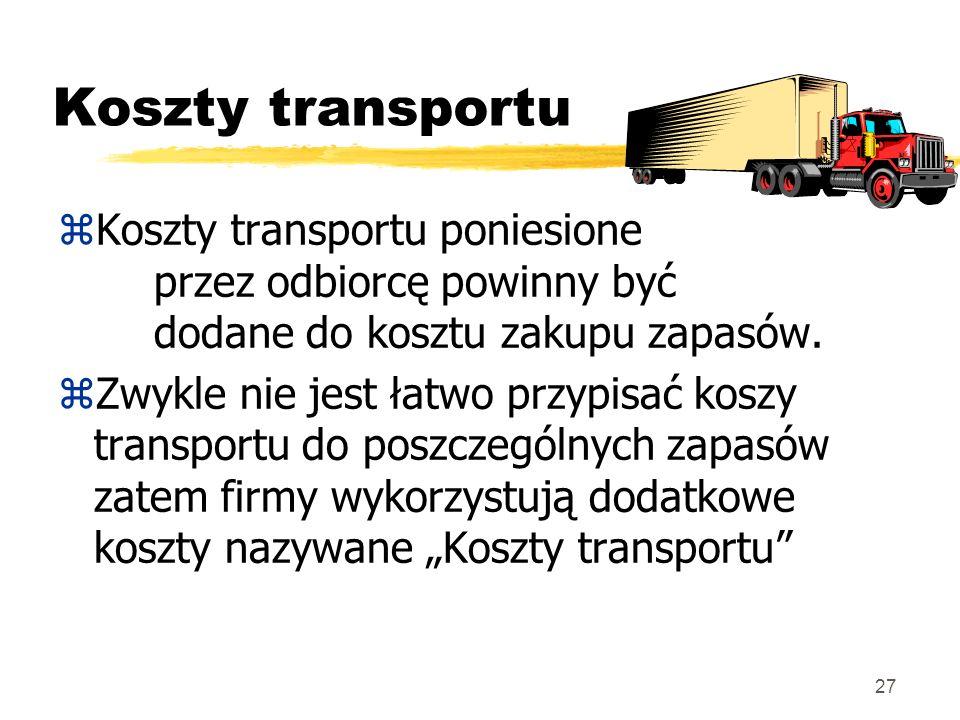 27 Koszty transportu zKoszty transportu poniesione przez odbiorcę powinny być dodane do kosztu zakupu zapasów. zZwykle nie jest łatwo przypisać koszy