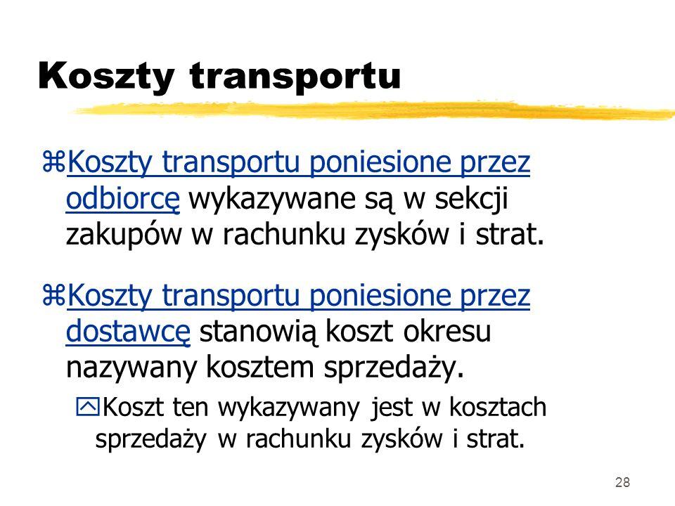 28 Koszty transportu zKoszty transportu poniesione przez odbiorcę wykazywane są w sekcji zakupów w rachunku zysków i strat. zKoszty transportu poniesi