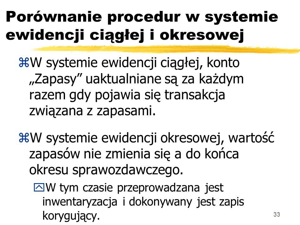 33 Porównanie procedur w systemie ewidencji ciągłej i okresowej zW systemie ewidencji ciągłej, konto Zapasy uaktualniane są za każdym razem gdy pojawi