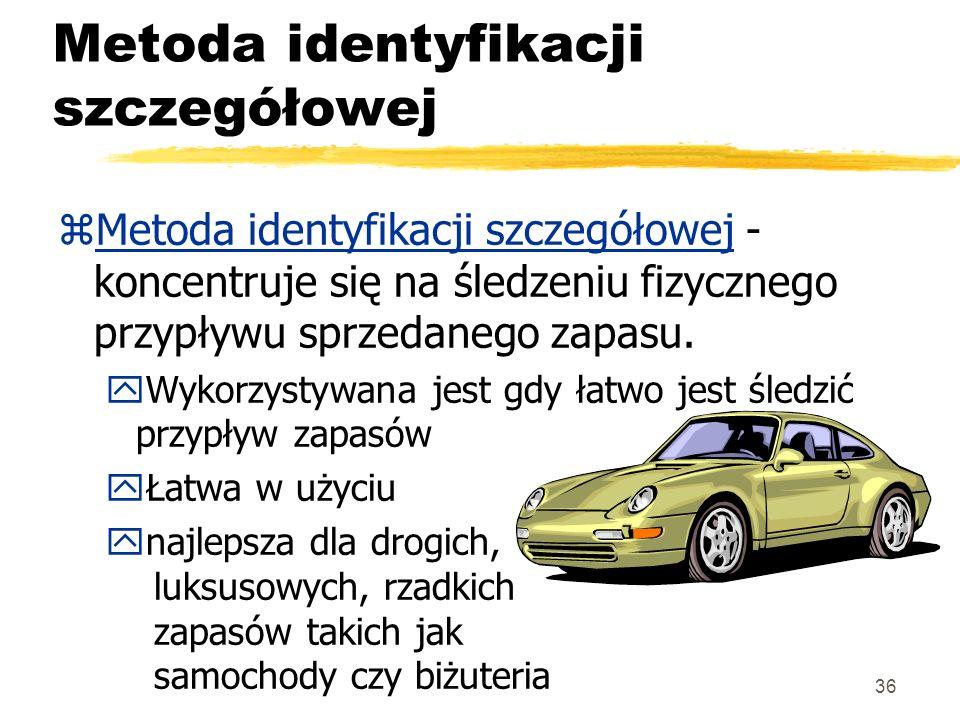 36 Metoda identyfikacji szczegółowej zMetoda identyfikacji szczegółowej - koncentruje się na śledzeniu fizycznego przypływu sprzedanego zapasu. yWykor