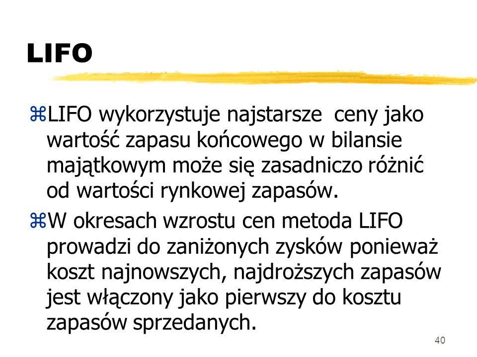40 LIFO zLIFO wykorzystuje najstarsze ceny jako wartość zapasu końcowego w bilansie majątkowym może się zasadniczo różnić od wartości rynkowej zapasów