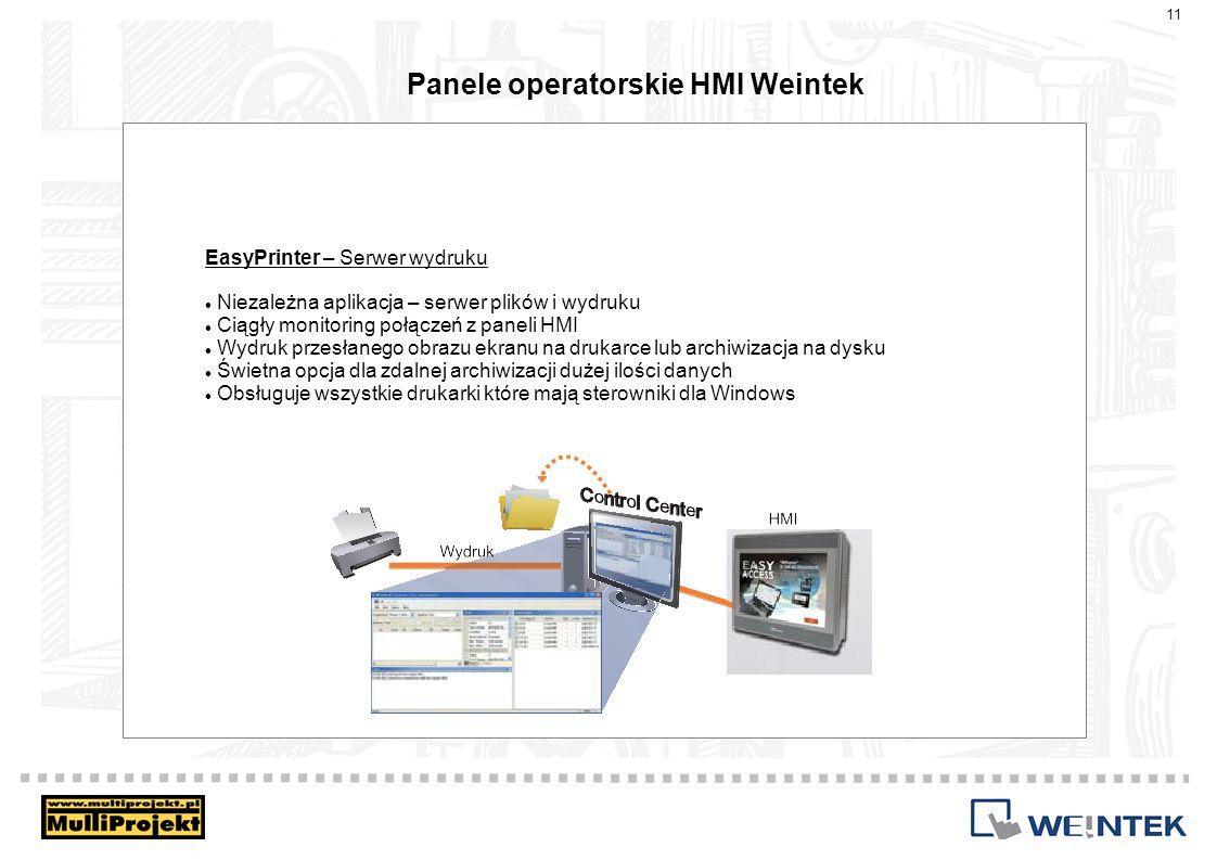 Panele operatorskie HMI Weintek EasyPrinter – Serwer wydruku Niezależna aplikacja – serwer plików i wydruku Ciągły monitoring połączeń z paneli HMI Wy