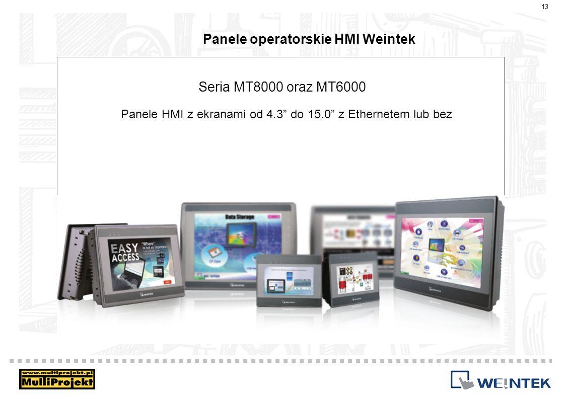 Panele operatorskie HMI Weintek 13 Seria MT8000 oraz MT6000 Panele HMI z ekranami od 4.3 do 15.0 z Ethernetem lub bez