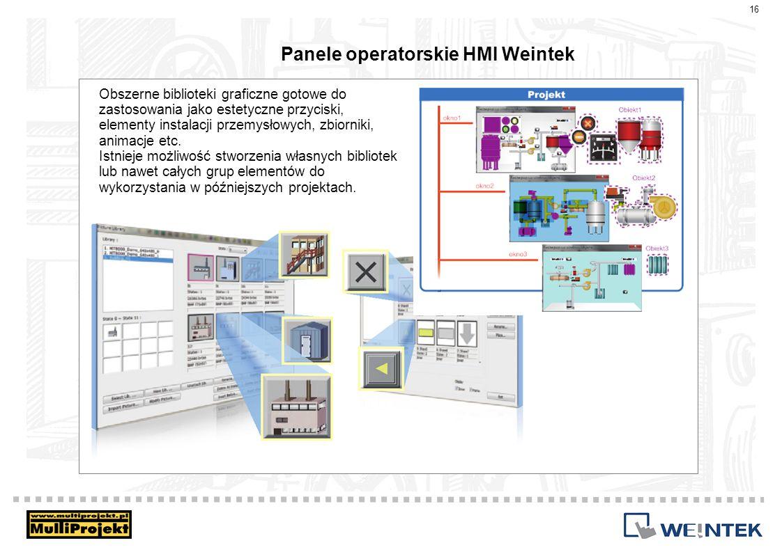Panele operatorskie HMI Weintek 16 Obszerne biblioteki graficzne gotowe do zastosowania jako estetyczne przyciski, elementy instalacji przemysłowych,