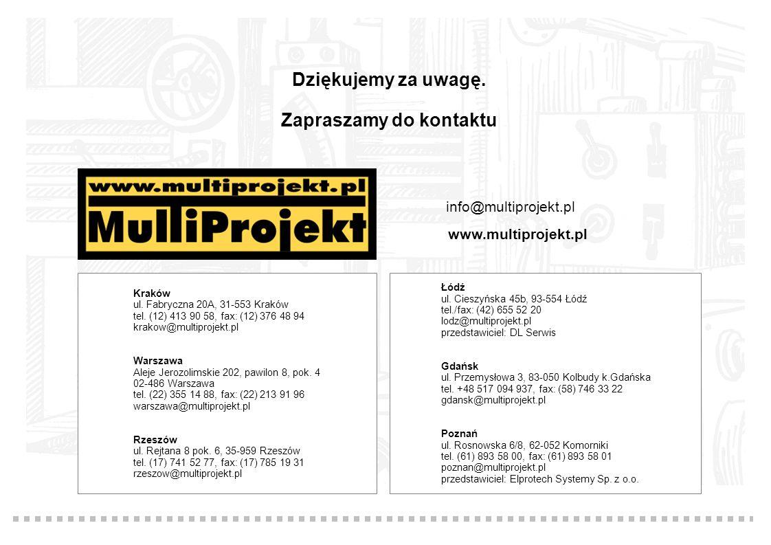 Dziękujemy za uwagę. Zapraszamy do kontaktu Kraków ul. Fabryczna 20A, 31-553 Kraków tel. (12) 413 90 58, fax: (12) 376 48 94 krakow@multiprojekt.pl Wa