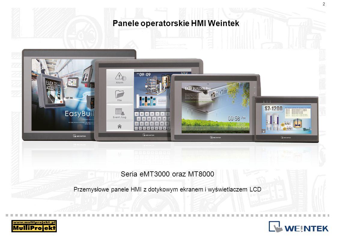 Panele operatorskie HMI Weintek Szybki 600/800MHz procesor Mocna obudowa ze stopu aluminium Ekran o wysokiej rozdzielczości Protokoły komunikacyjne do ponad 150 urządzeń Obsługa CANopen oraz BACnet Optoizolacja zasilania oraz portów komunikacyjnych Precyzyjny ekran dotykowy 3