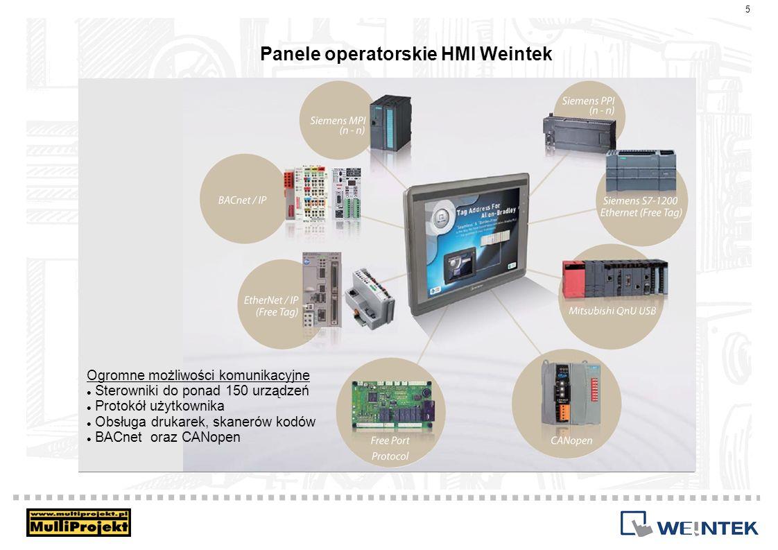 Panele operatorskie HMI Weintek 16 Obszerne biblioteki graficzne gotowe do zastosowania jako estetyczne przyciski, elementy instalacji przemysłowych, zbiorniki, animacje etc.