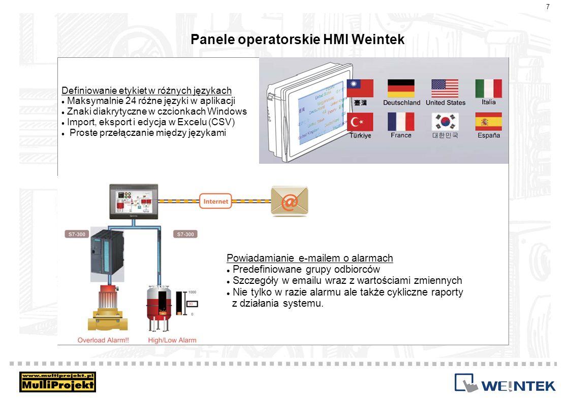 Panele operatorskie HMI Weintek Definiowanie etykiet w różnych językach Maksymalnie 24 różne języki w aplikacji Znaki diakrytyczne w czcionkach Window