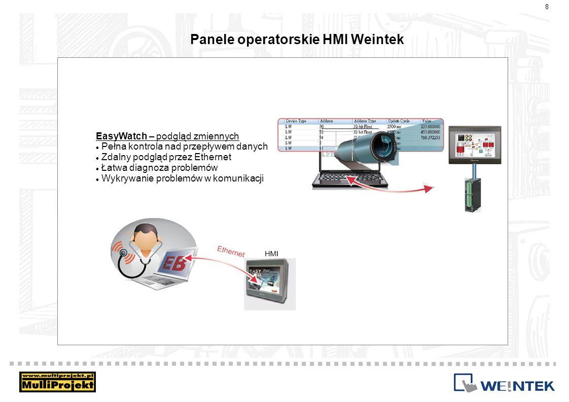 Panele operatorskie HMI Weintek EasySimulator – Symulacja aplikacji Symulacja Offline – aplikacja na komputerze bez HMI i PLC, zmienne na dysku komputera Symulacja Online – połączenie z HMI lub PLC.