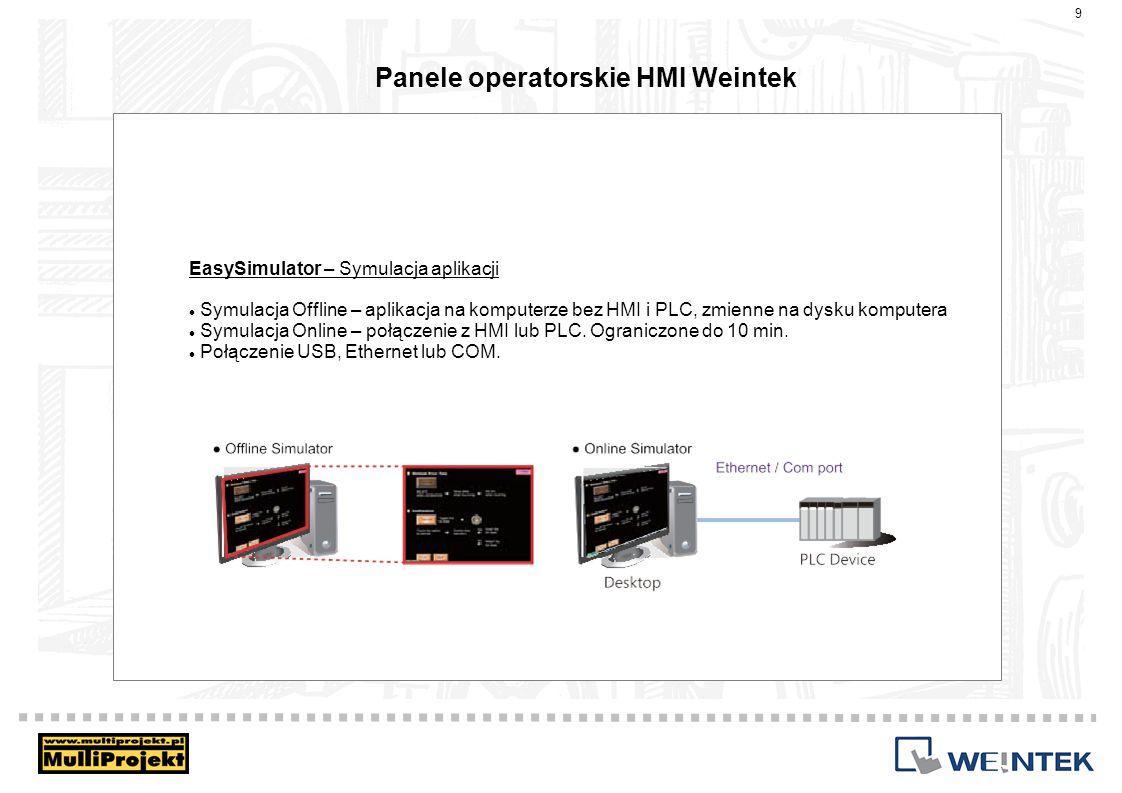 Panele operatorskie HMI Weintek EasySimulator – Symulacja aplikacji Symulacja Offline – aplikacja na komputerze bez HMI i PLC, zmienne na dysku komput